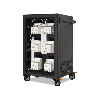 AC-LITE: 30 Bay Secure Charging Cart, Back Panel Open View