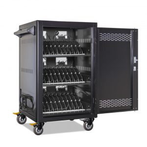 AC-LITE-PW45: Pre-Wired 30 Bay Secure Charging Cart, Front Door Open View