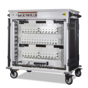 AC-MANAGE: 36 Bay Network Ready Secure Charging Cart, Back Open View