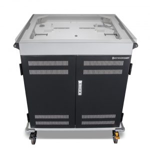 AC-MANAGE: 36 Bay Network Ready Secure Charging Cart, Top Open View