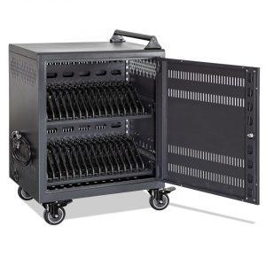 AC-30: 30 Bay Secure Charging Cart, Front Door Open View