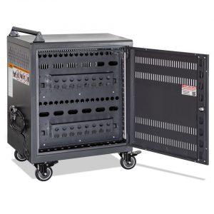 AC-30: 30 Bay Secure Charging Cart, Back Door Open View