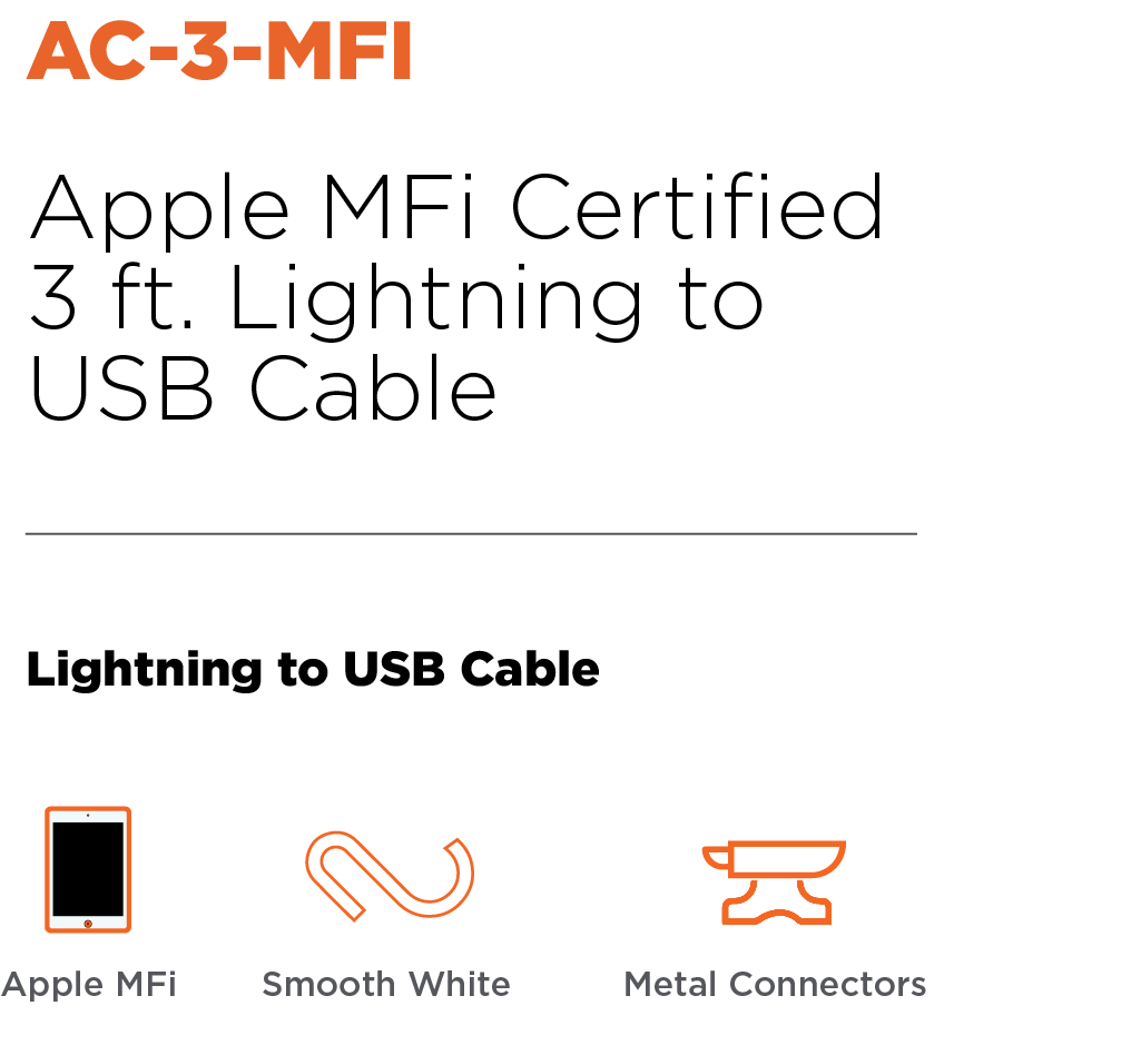 Anywhere Cart AC-3-MFI: Apple MFi Certified USB to Lightning Cable Header
