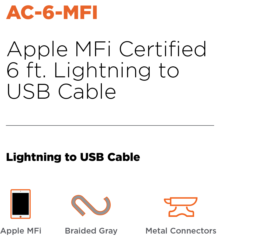 Anywhere Cart AC-6-MFI: Apple MFi Certified USB to Lightning Cable Header