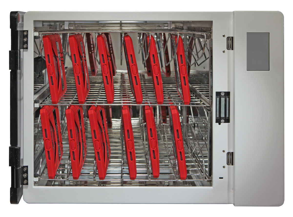 Anywhere Cart AC-CLEAN: Configurable UVC Sanitizing Cabinet - Open, red iPads image