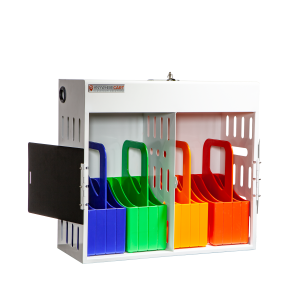 Anywhere Cart AC-GO-16: 16 Device Charging Cabinet with Carry Out Baskets - Front, open Image