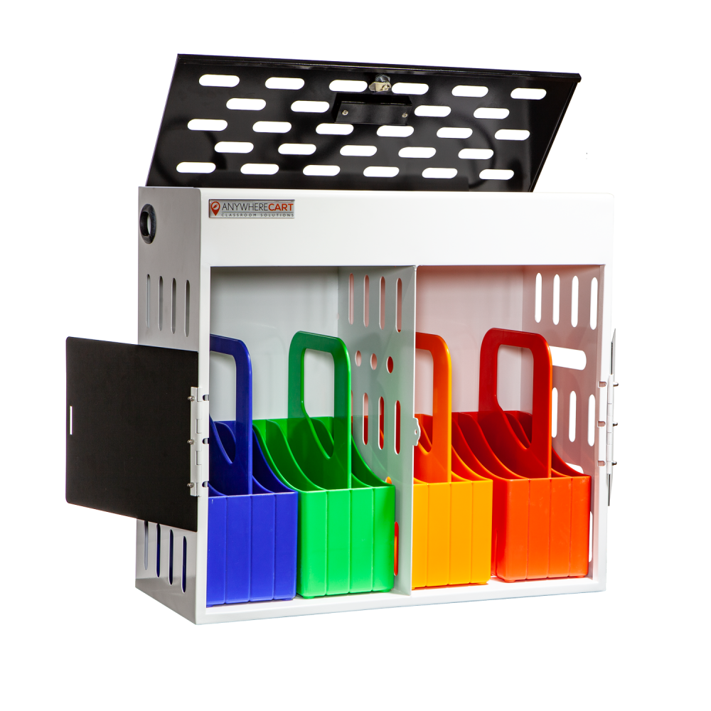 Anywhere Cart AC-GO-16: 16 Device Charging Cabinet with Carry Out Baskets - Top open Image