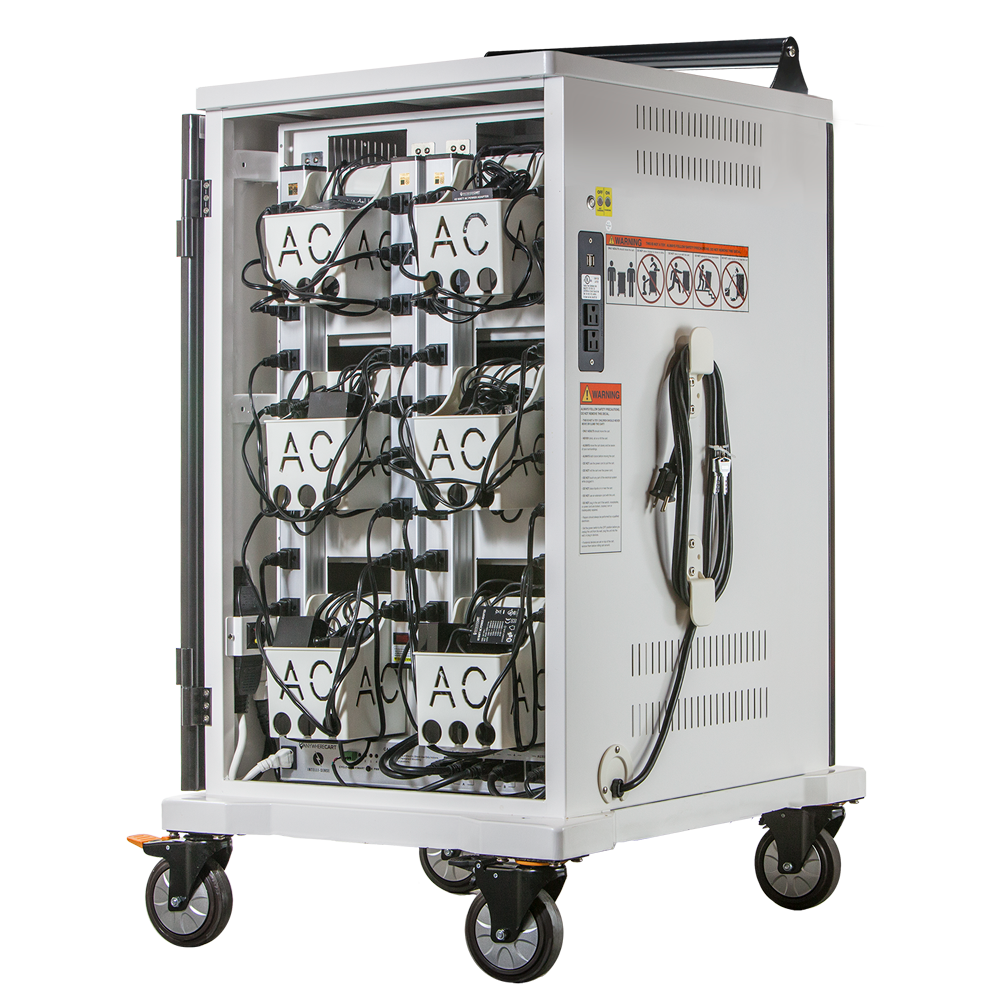 Anywhere Cart AC-MAX: 36 Bay Secure Smart Charging Cart - Back, Open Image (Power Adapters shown not included)