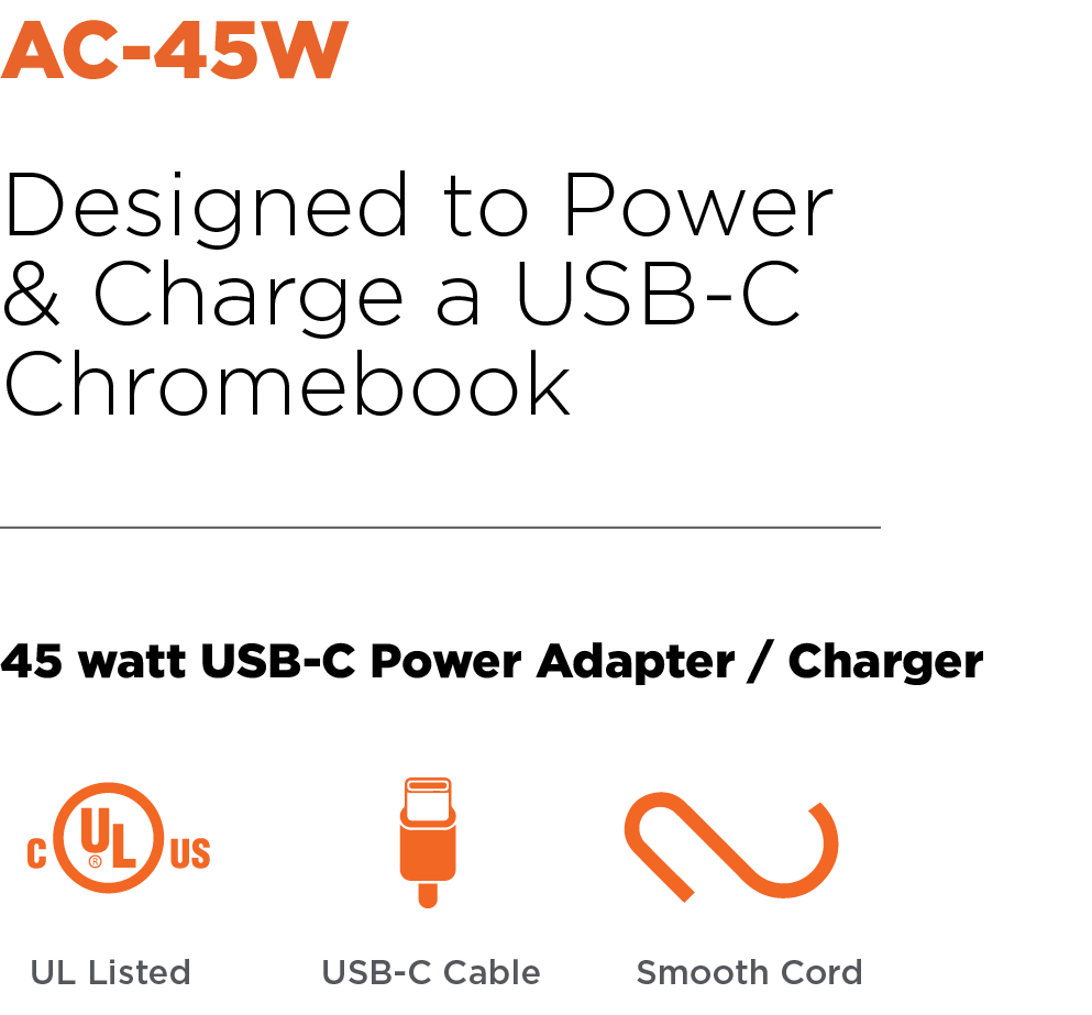 Anywhere Cart AC-45W: 45 watt USB-C Power Adapter / Charger Header Image