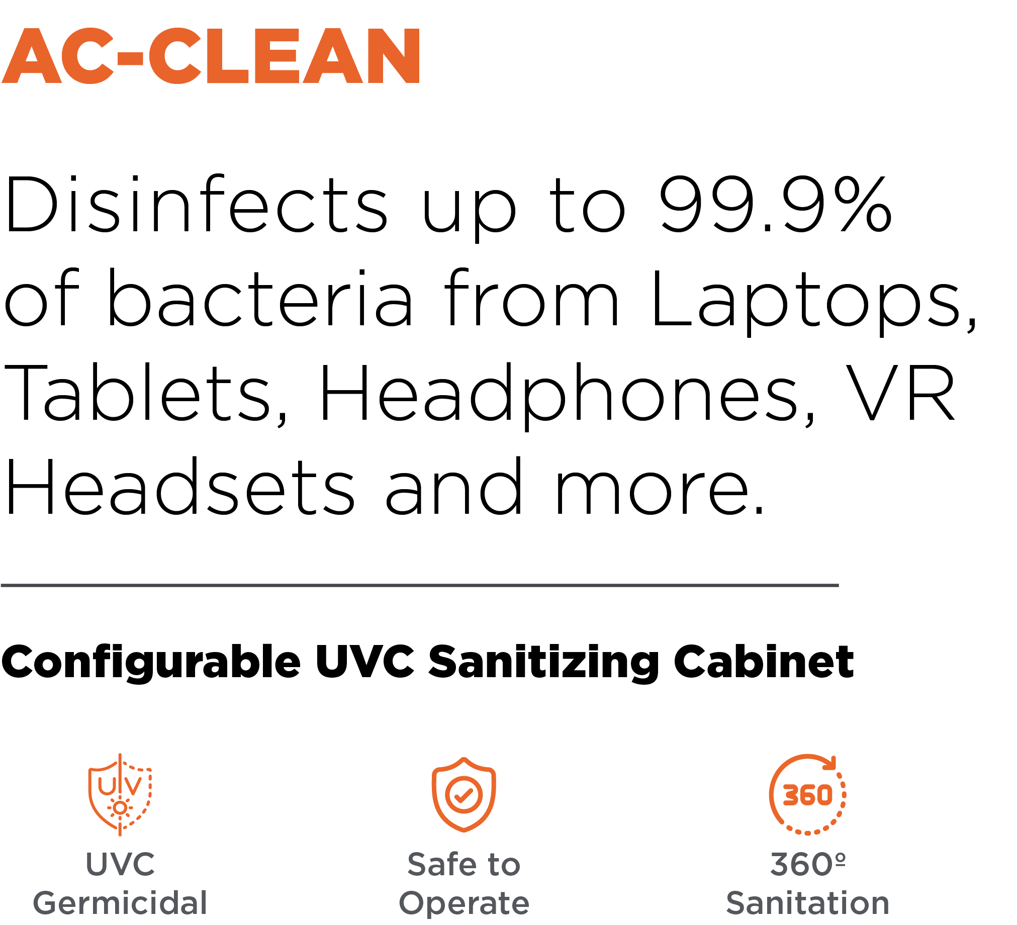 Anywhere Cart AC-CLEAN: Configurable UVC Sanitizing Cabinet