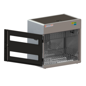 Anywhere Cart AC-CNC-18: 18 Device Clean & Charge UVC Sanitizing Cabinet- Front, open image
