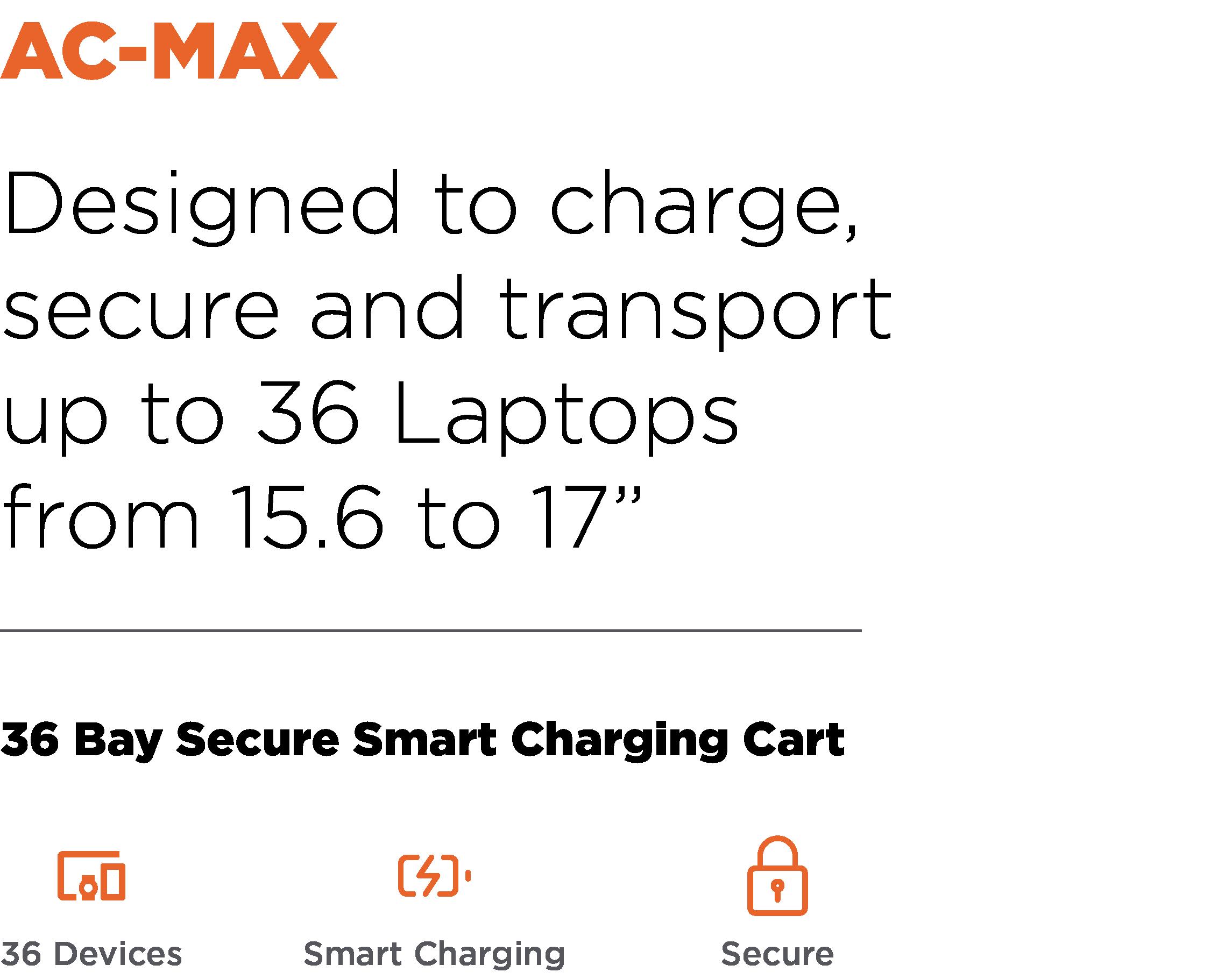 Anywhere Cart AC-MAX: 36 Bay Secure Smart Charging Cart