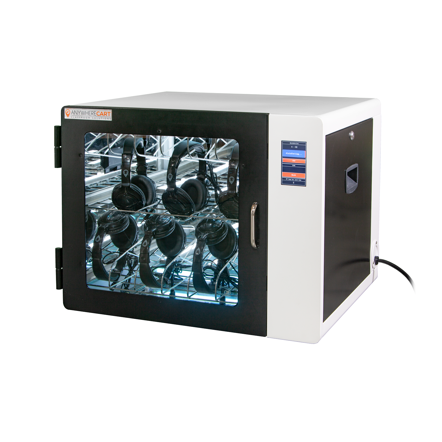 Anywhere Cart AC-CLEAN: Configurable UVC Sanitizing Cabinet - Closed, headphones image