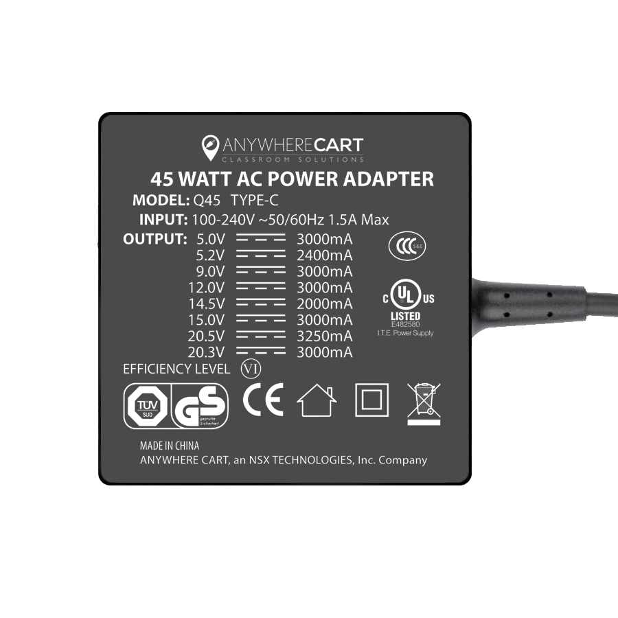 Anywhere Cart AC-45W: 45 watt USB-C Power Adapter / Charge, Top Label Image