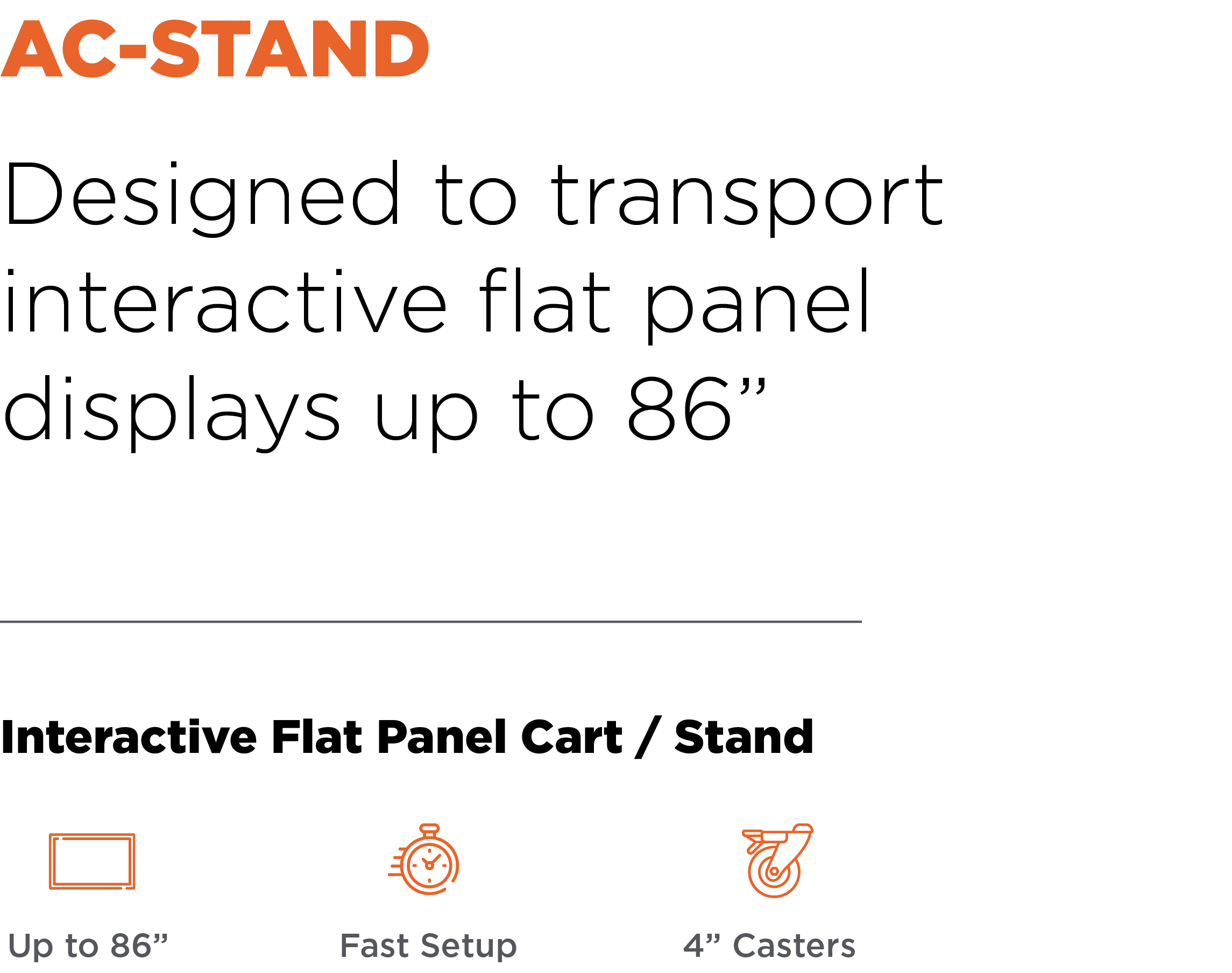 Anywhere Cart AC-STAND: Interactive Flat Panel Cart / Stand